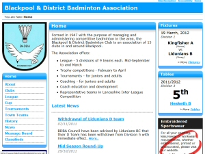 Comprehensive badminton league website software with an easy to use back-end.