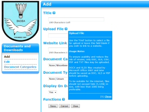 All input screens in the BaddersWeb admin back-end feature extensive on-line help.